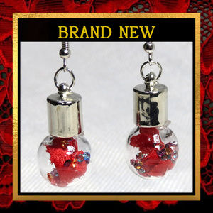 Red Silk Flower Globe Earrings  #300